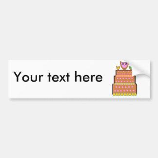 Pink polkadot owl cake car bumper sticker
