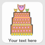 Pink polkadot owl cake square stickers