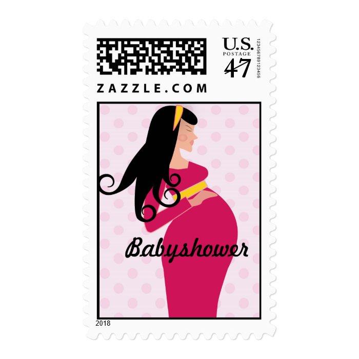 pink polkadot pregnant mom babyshower postage