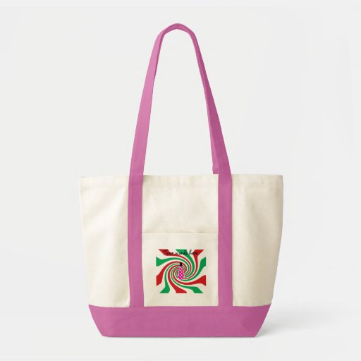 Pink polkadot snowman on red green swirl canvas bags