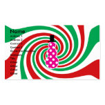 Pink polkadot snowman on red green swirl business cards