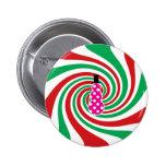 Pink polkadot snowman on red green swirl pinback buttons