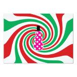 """Pink polkadot snowman on red green swirl 5"""" x 7"""" invitation card"""