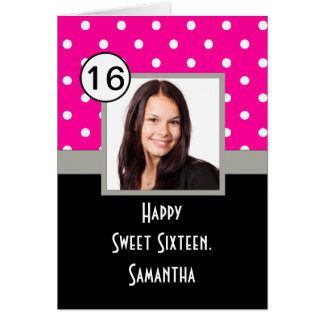 Pink polkadot sweet sixteen card