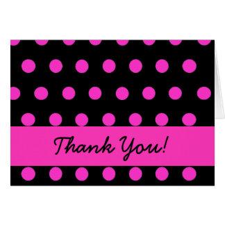Pink Polkadot thank you notecard
