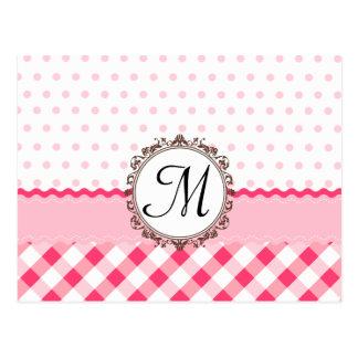 Pink Polkadots, Checks and Stripes with Monogram Postcard