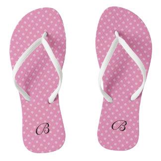 Pink polkadots monogram wedding party flip flops