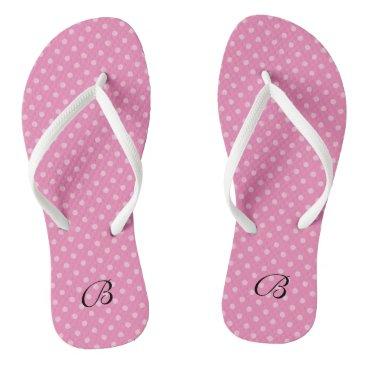 Beach Themed Pink polkadots monogram wedding party flip flops