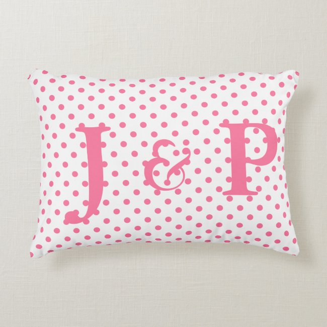 Pink Polkadots Monogrammed Accent Pillow