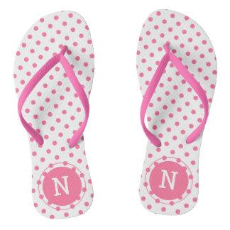Pink Polkadots Monogrammed Flip flops