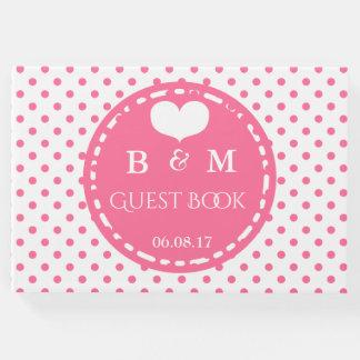 Pink Polkadots Pattern Personalized Guestbook