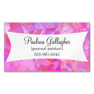 Pink Polygonal Business Card Magnets