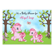 Pink Ponies Horse Baby Shower Invites ~ Girls