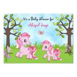 "Pink Ponies Horse Baby Shower Invites ~ Girls 5"" X 7"" Invitation Card"