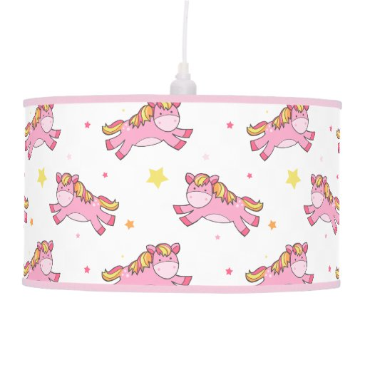 Pink Ponies Pattern Nursery Ceiling Lamp