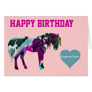 Pink Pony Birthday Card - Custom Pony Card