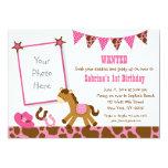 Pink Pony Birthday Invitations