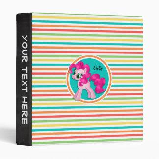 Pink Pony; Bright Rainbow Stripes 3 Ring Binder