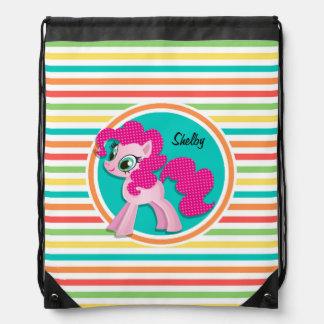 Pink Pony; Bright Rainbow Stripes Drawstring Bag