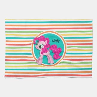 Pink Pony; Bright Rainbow Stripes Hand Towel