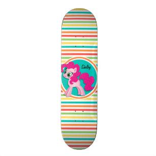 Pink Pony; Bright Rainbow Stripes Skateboard