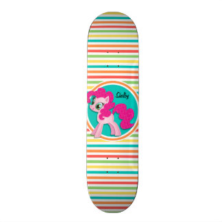 Pink Pony; Bright Rainbow Stripes Skateboard