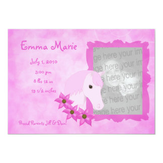 Pink Pony & Flowers Birth Announcement
