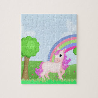 Pink Pony Horse in a Cute, Colorful Field Cartoon Photo Puzzles