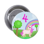 Pink Pony in Colourful Fields Child's Age Badge Button