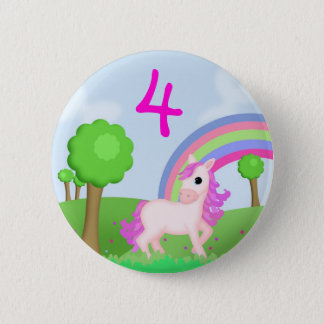 Pink Pony in Colourful Fields Child's Age Badge Pinback Button