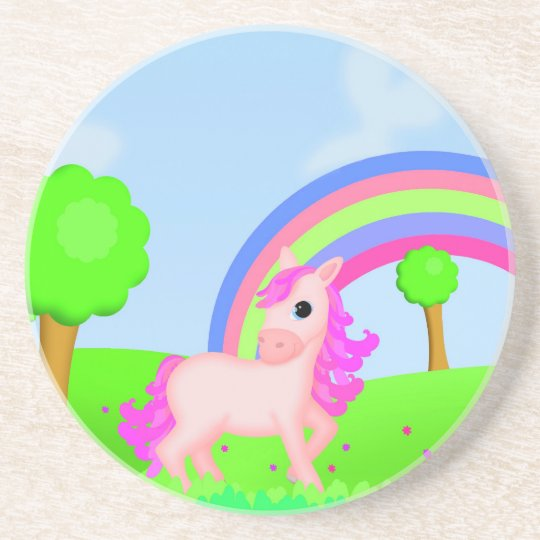 Pink Pony in Fields Colorful Cartoon Design Sandstone Coaster