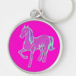Pink Pony Silver-Colored Round Keychain