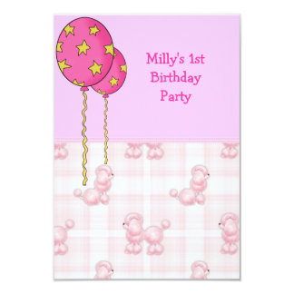 "Pink Poodle 1st Birthday Party Balloons 3.5"" X 5"" Invitation Card"