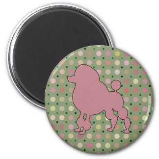PINK POODLE 2 INCH ROUND MAGNET