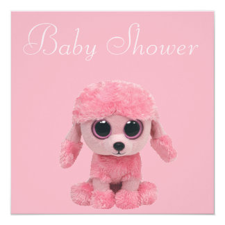 Pink Poodle, Baby Shoes & Pearls Baby Shower Card