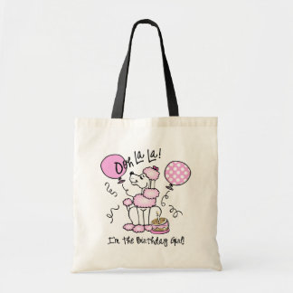Pink Poodle Birthday Canvas Bag