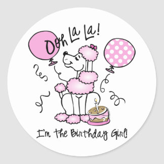 Pink Poodle Birthday Classic Round Sticker