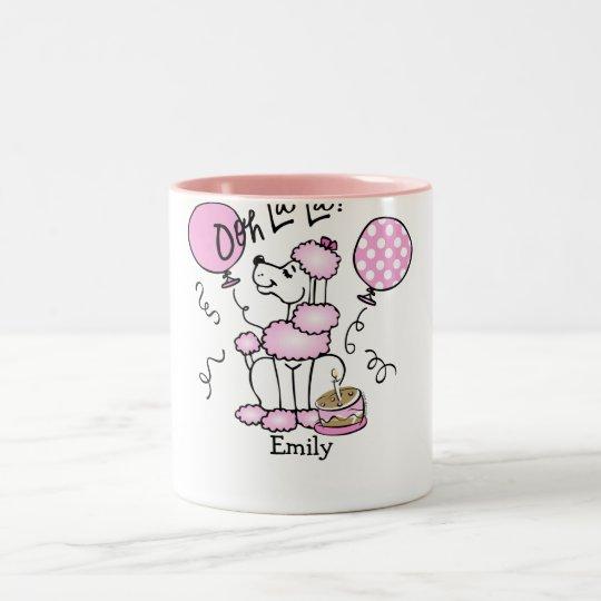 Pink Poodle Birthday Custom Mug