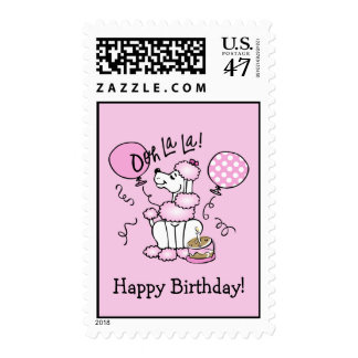 Pink Poodle Birthday Custom Stamp