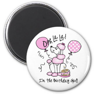 Pink Poodle Birthday Magnets
