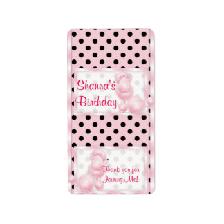 Pink Poodle Birthday Miniature Candy bar wrappers Label