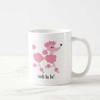 pink poodle classic white coffee mug