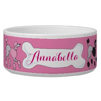 PINK POODLE Customizable Name Dogfood Pet Bowl