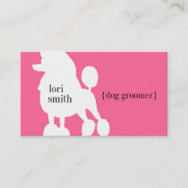 Pink Poodle Dog Groomer Business Card