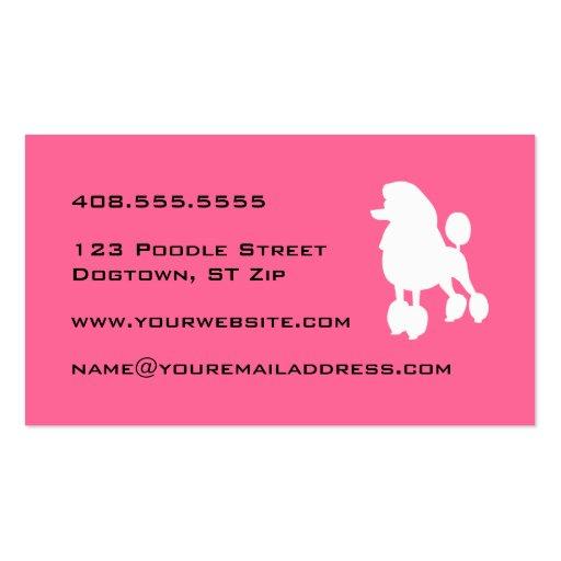 Pink Poodle Dog Groomer Business Card (back side)