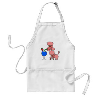 Pink Poodle Drinking Daiquiri Adult Apron