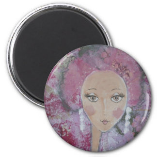 Pink Poodle Girl 2 Inch Round Magnet