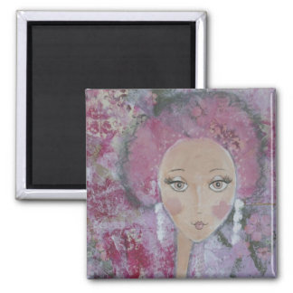 Pink Poodle Girl 2 Inch Square Magnet