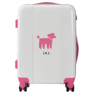 Pink Poodle Graphic with Custom Text Luggage