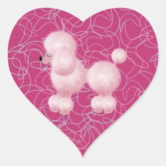 Pink Poodle Heart Sticker
